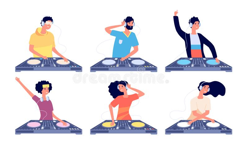 Характеры Dj Люди с наушниками и смесителем turntable делают современную музыку в клубе Диск парня Dj закручивая изолировал иллюстрация вектора