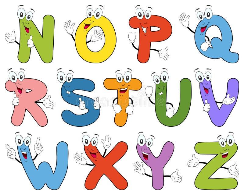 Характеры N-Z алфавита шаржа иллюстрация штока