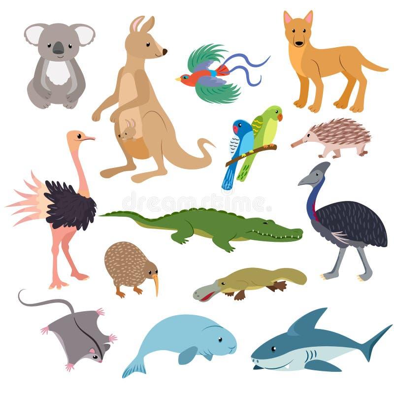 Характер австралийского вектора животных animalistic в иллюстрации коалы и акулы кенгуру Австралии живой природы установил  бесплатная иллюстрация