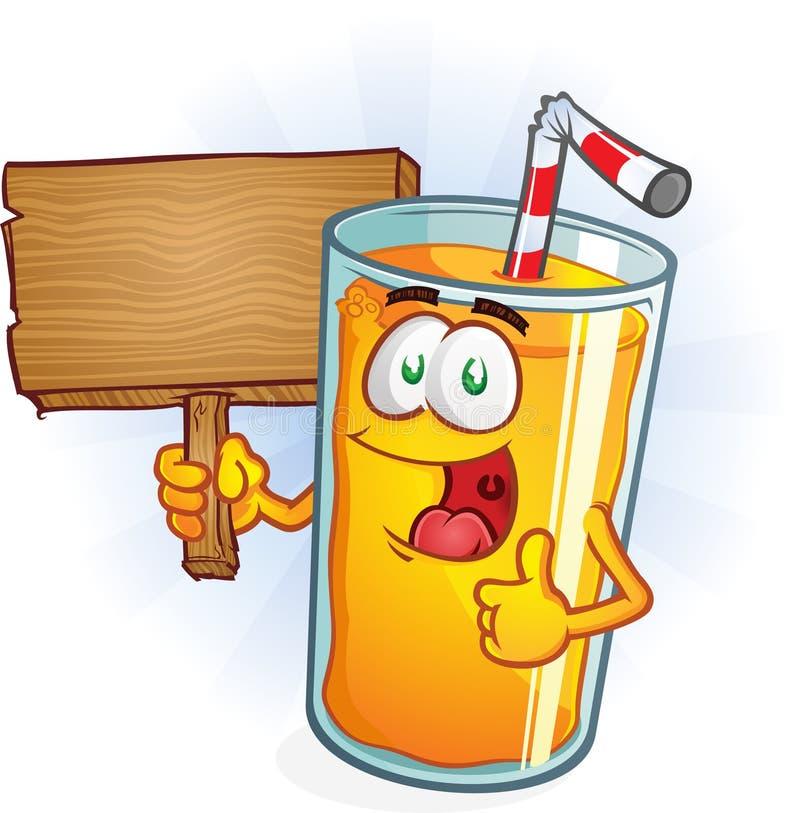 Характер апельсинового сока держа знак иллюстрация штока