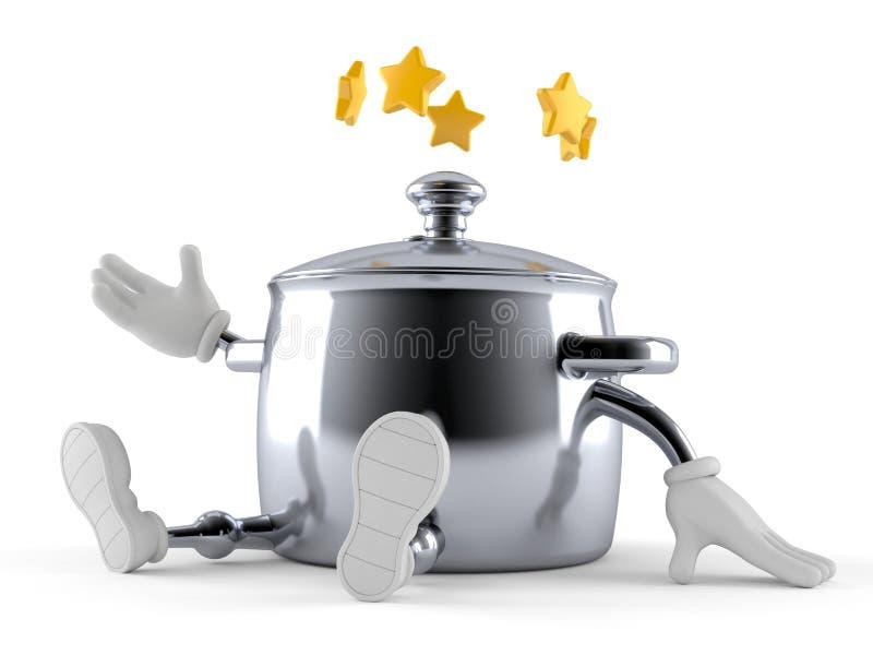 Характер бака кухни со звездами вокруг головы бесплатная иллюстрация