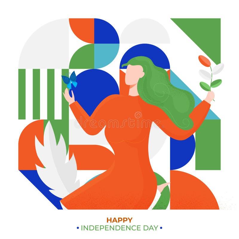 Характер безликого завода удерживания женщины на красочной абстрактной предпосылке на счастливый День независимости иллюстрация штока