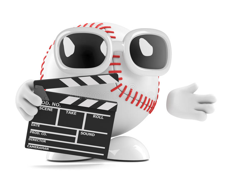 характер бейсбола 3d с clapperboard иллюстрация вектора