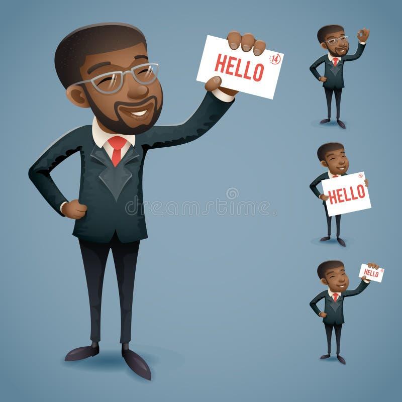 Характер бизнесмена Афро шаржа американскими установленный значками африканский европейский иллюстрация вектора
