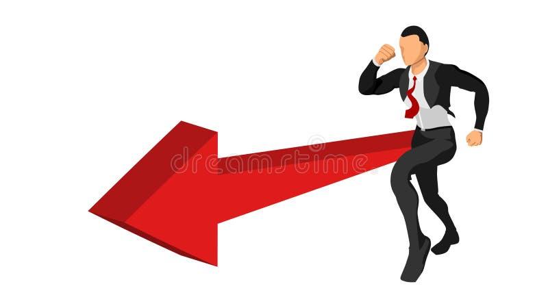 Характер бизнесмена бежит второпях с направлением направления иллюстрация вектора