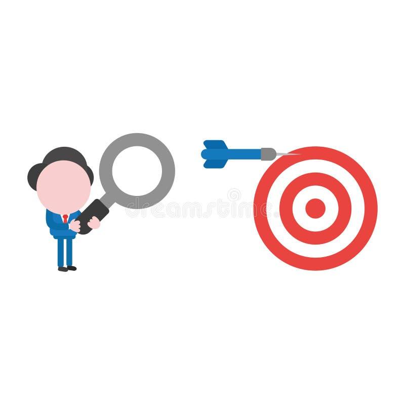 Характер бизнесмена вектора держа лупу и lookin бесплатная иллюстрация