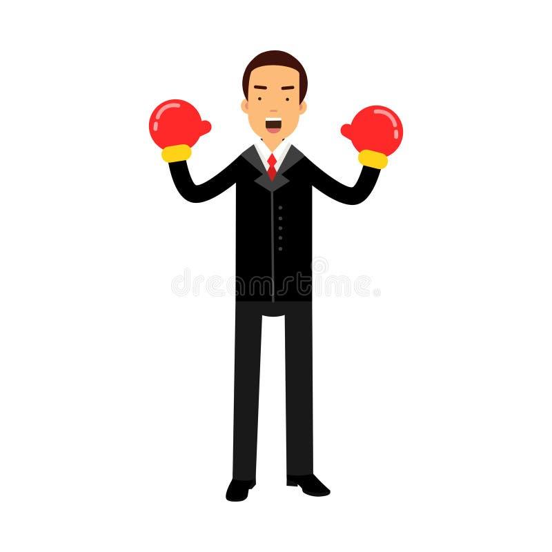 Характер бизнесмена в перчатках бокса празднуя его выигрывает иллюстрацию иллюстрация вектора