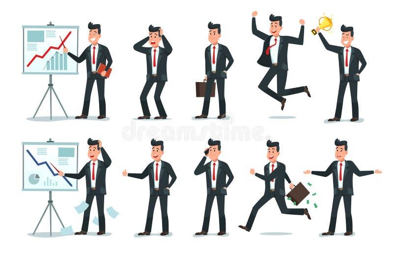 Характер бизнесмена Работники работника офиса, уставший работник финансов и иллюстрация вектора мультфильма характеров дела иллюстрация штока