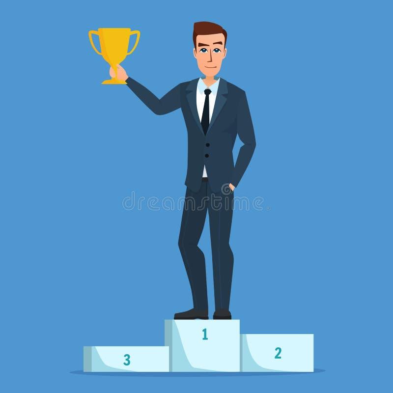 Характер бизнесмена успеха стоя в удерживании подиума иллюстрация вектора