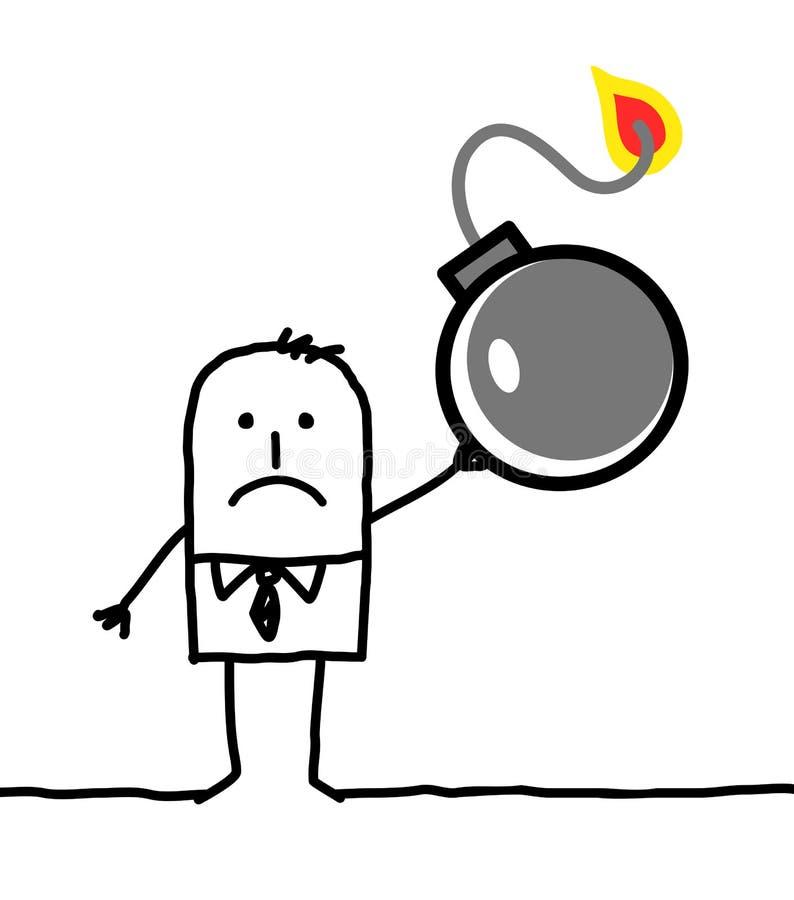 Характер - бизнесмен и бомба иллюстрация вектора