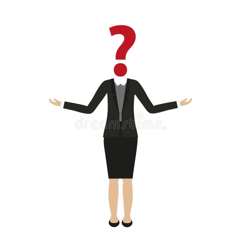 Характер бизнес-леди с головой вопросительного знака бесплатная иллюстрация