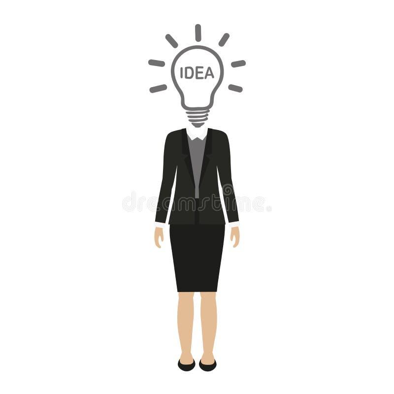 Характер бизнес-леди с головой электрической лампочки иллюстрация штока