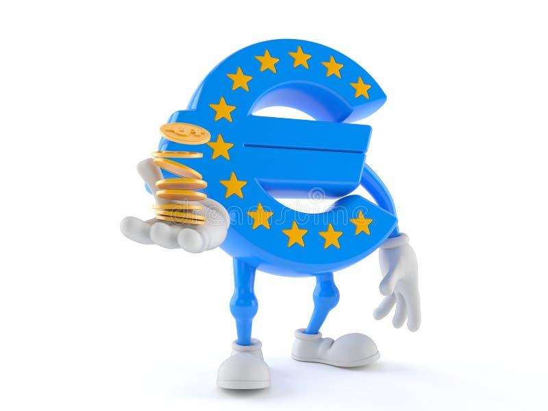 Характер валюты евро с монетками иллюстрация вектора