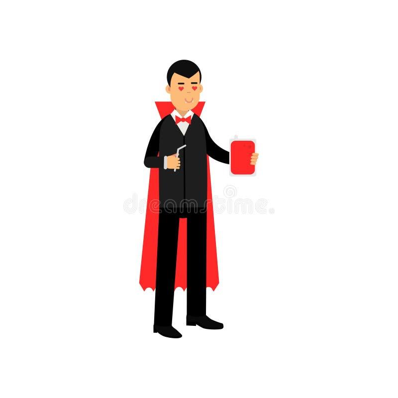 Характер вампира стоя с склянкой крови и соломой, отсчетом Дракула нося черный костюм и красный вектор накидки иллюстрация штока