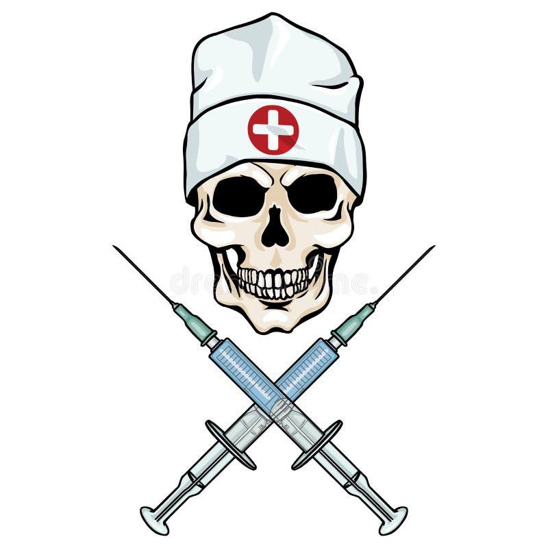 Характер вектора - доктор черепа и пересеченные шприцы бесплатная иллюстрация