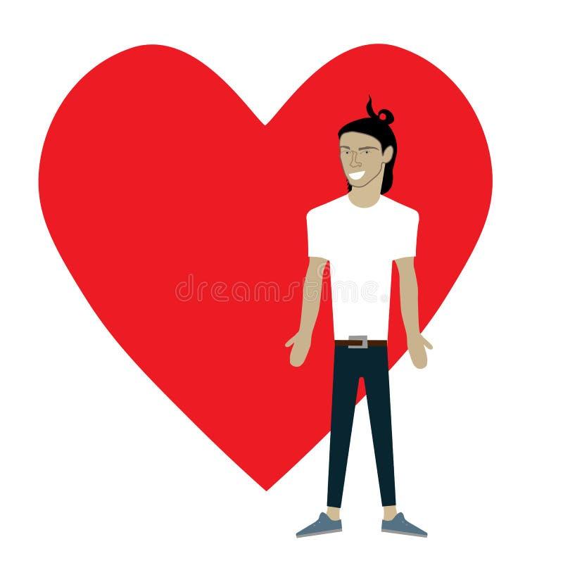 Характер вектора парня шаржа плоский с предпосылкой сердца иллюстрация вектора