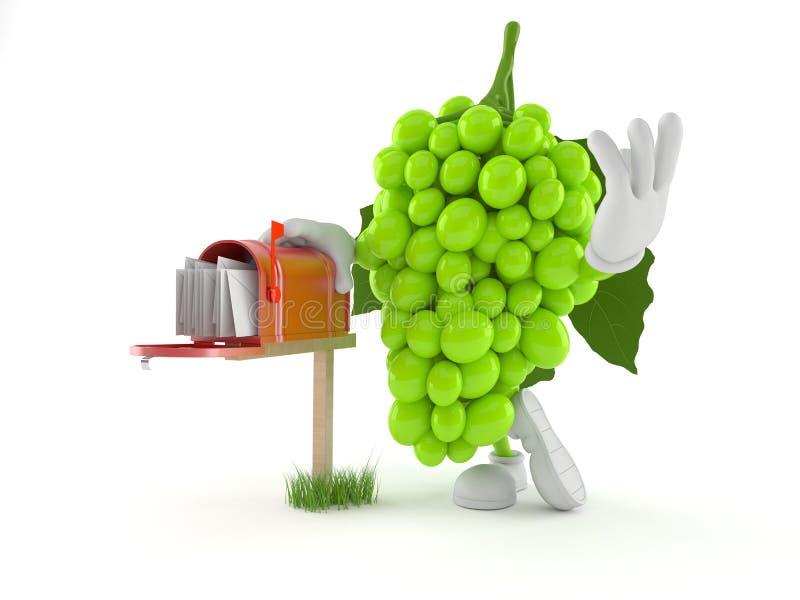 Характер виноградин с почтовым ящиком иллюстрация вектора