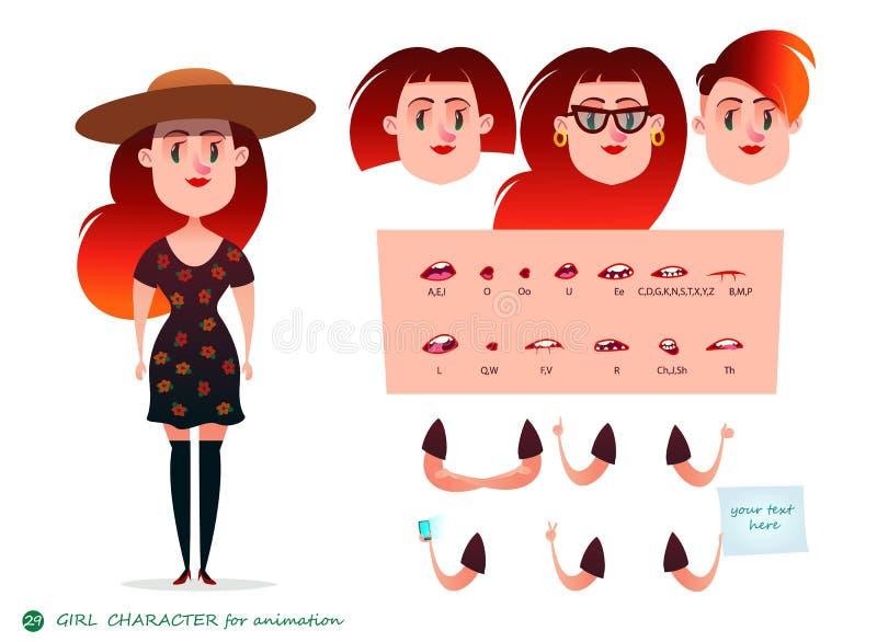 Характер девушки для ваших сцен Части шаблона тела для проектной работы и анимации иллюстрация вектора