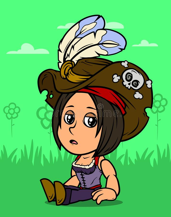 Характер девушки пирата брюнета мультфильма сидя иллюстрация штока