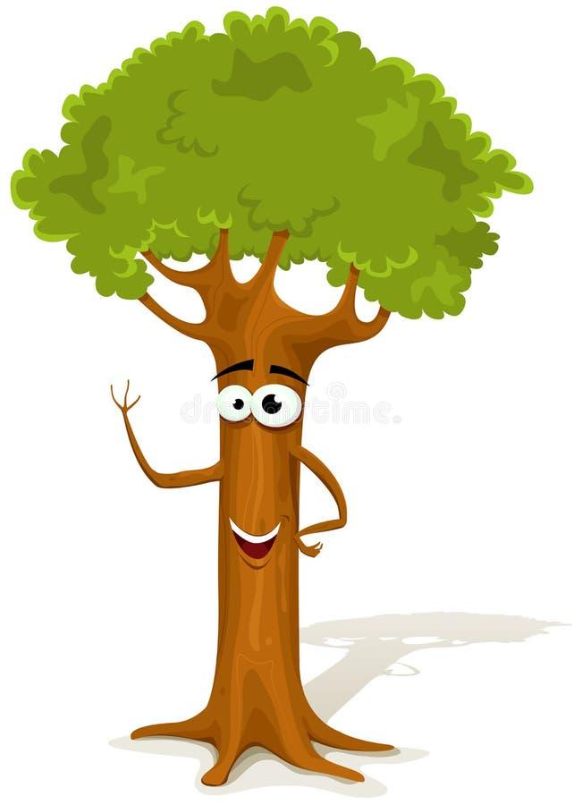 Характер дерева весны шаржа иллюстрация вектора