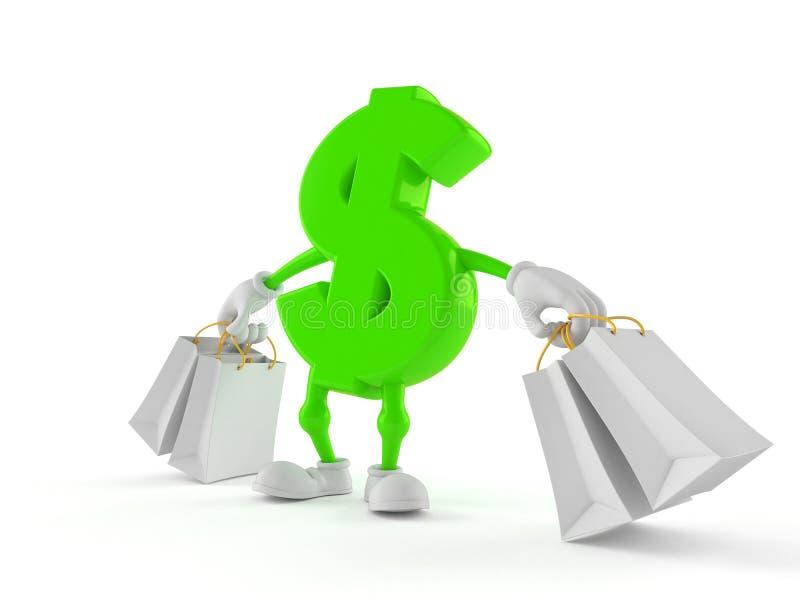 Характер доллара держа хозяйственные сумки иллюстрация штока