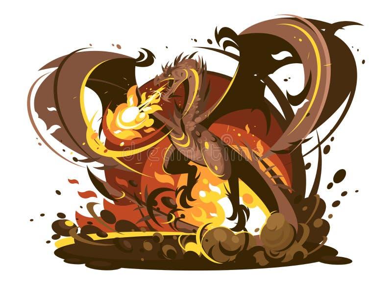 Характер дракона огня дышая иллюстрация вектора