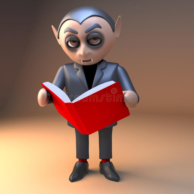 Характер Дракула вампира читает Красную книгу, иллюстрацию 3d иллюстрация штока
