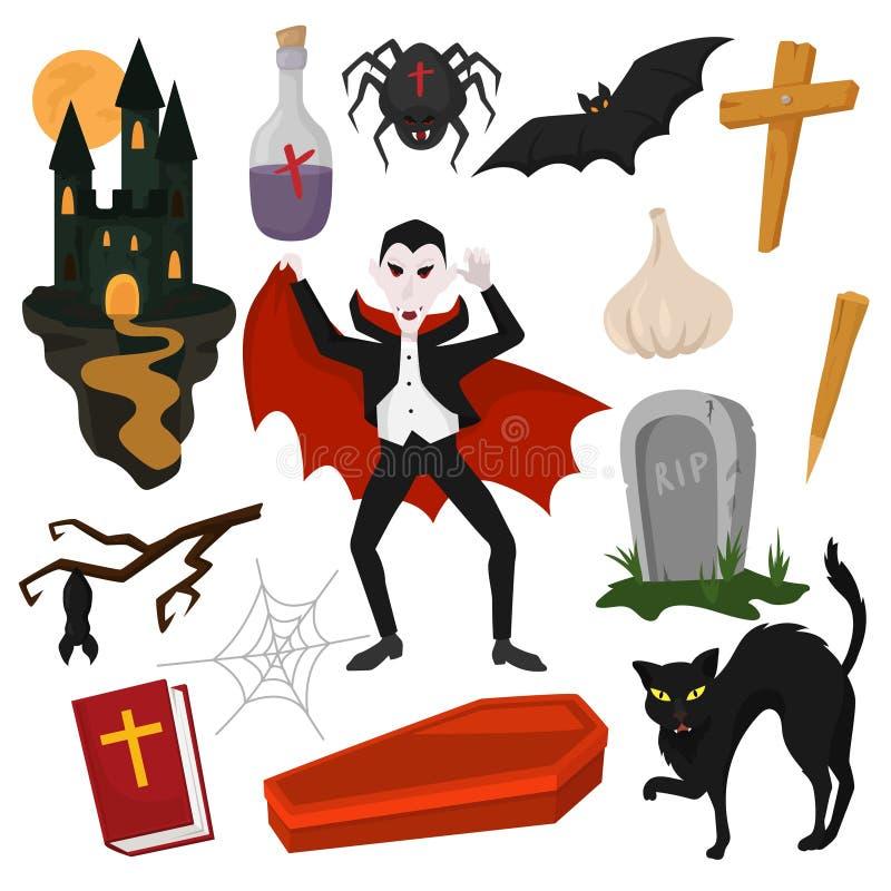 Характер Дракула мультфильма вектора вампира в страшном костюме хеллоуина и наборе иллюстрации знаков vampirism пугающего зла иллюстрация штока