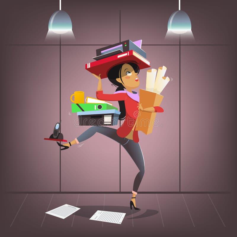 Характер дела вектора женский в стиле шаржа Занятый менеджер офиса multitasking Управляющий делами фирмы или босс личные иллюстрация вектора