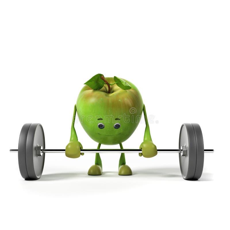 Характер еды - яблоко иллюстрация вектора