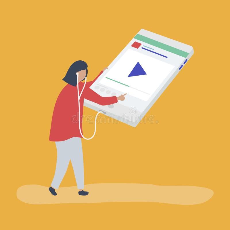 Характер женщины слушая музыку на цифровом планшете иллюстрация вектора