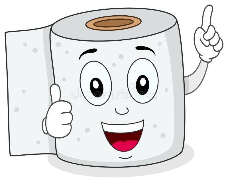 Характер жизнерадостной туалетной бумаги усмехаясь иллюстрация штока
