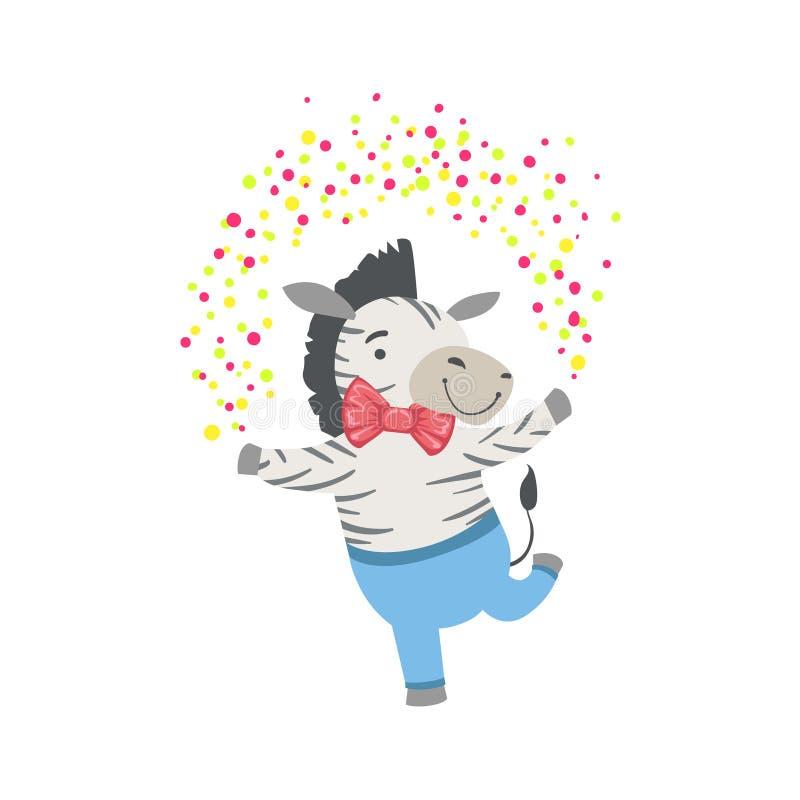Характер зебры милый животный присутствуя на вечеринке по случаю дня рождения иллюстрация штока