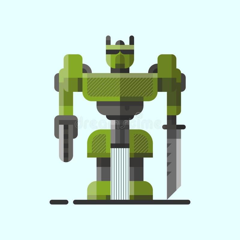 Характер значка элемента футуристического дизайна игрушки и киборга науки милой винтажной машины технологии робота будущий робото иллюстрация штока