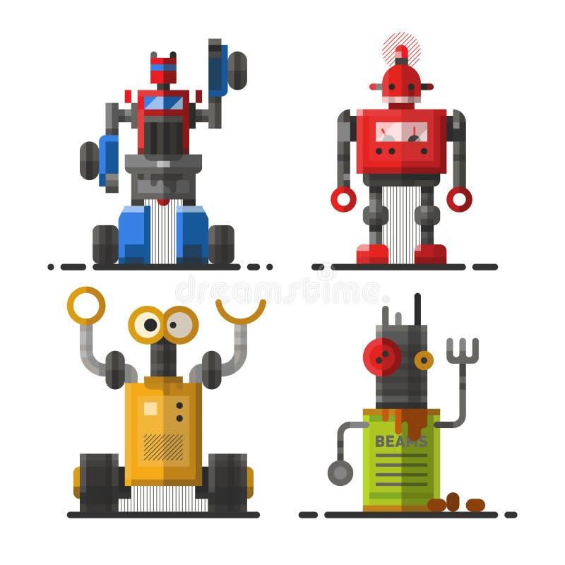 Характер значка элемента футуристического дизайна игрушки и киборга науки милой винтажной машины технологии робота будущий робото иллюстрация вектора