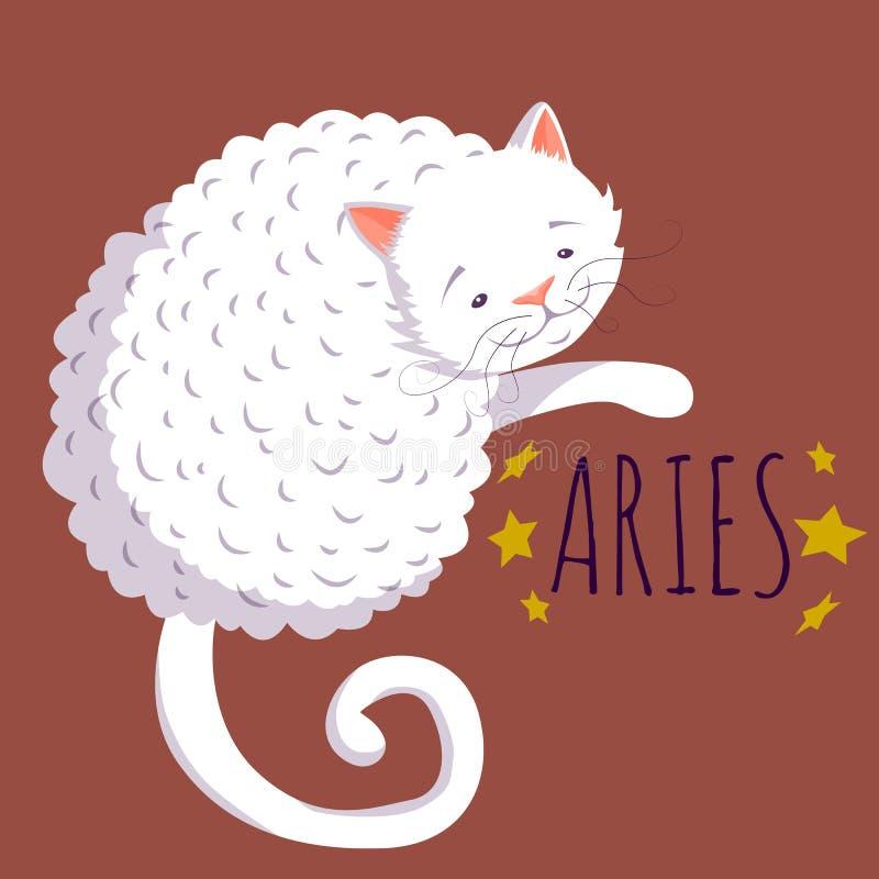 Характер зодиака Aries; кот шаржа стилизованный как зодиак aries; ve иллюстрация штока