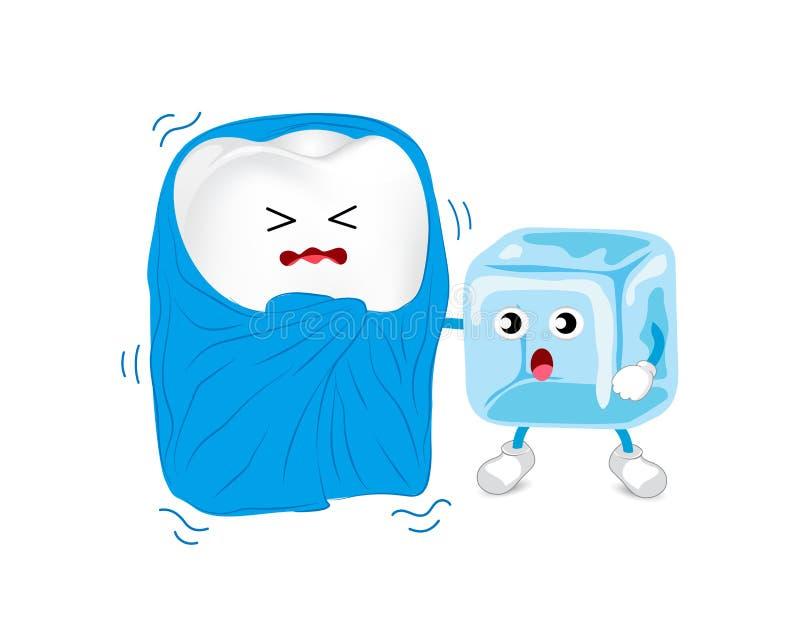 Характер зуба шаржа нездоровый с одеялом и льдом иллюстрация штока