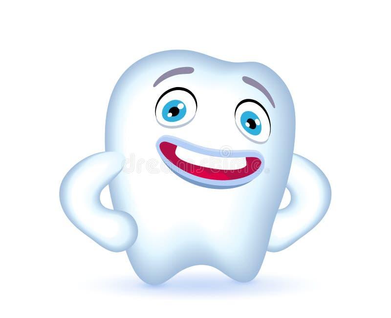 Характер зуба шаржа с руками на его бедрах иллюстрация вектора