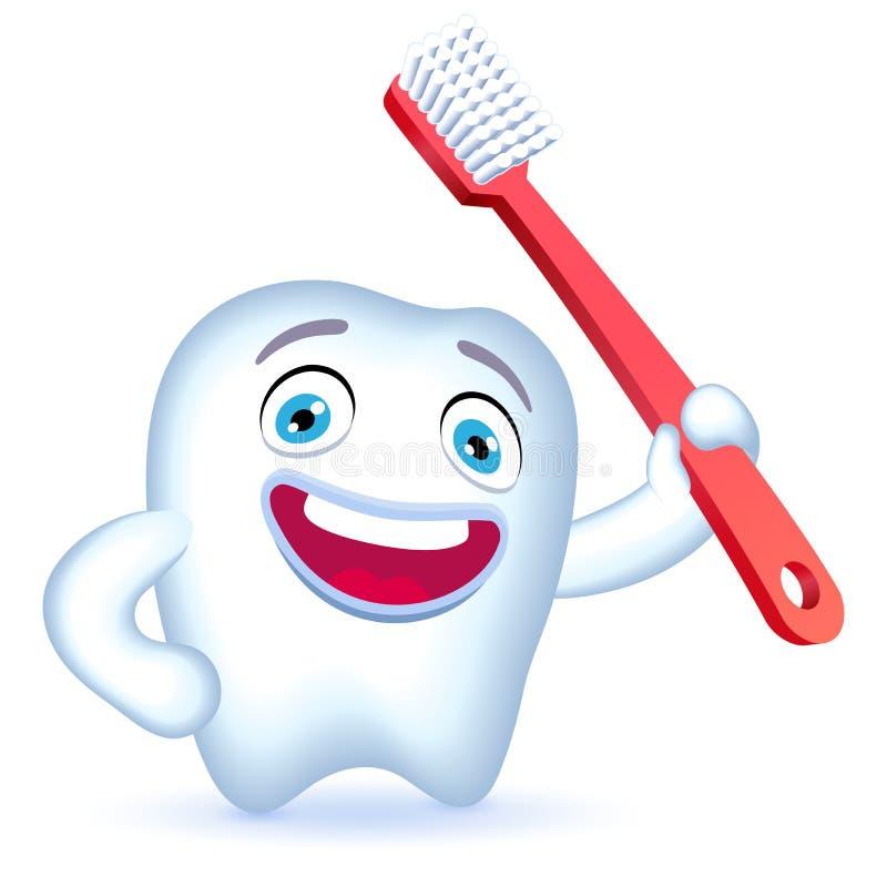 Характер зуба шаржа с рукой на его бедре держа toothbrus бесплатная иллюстрация