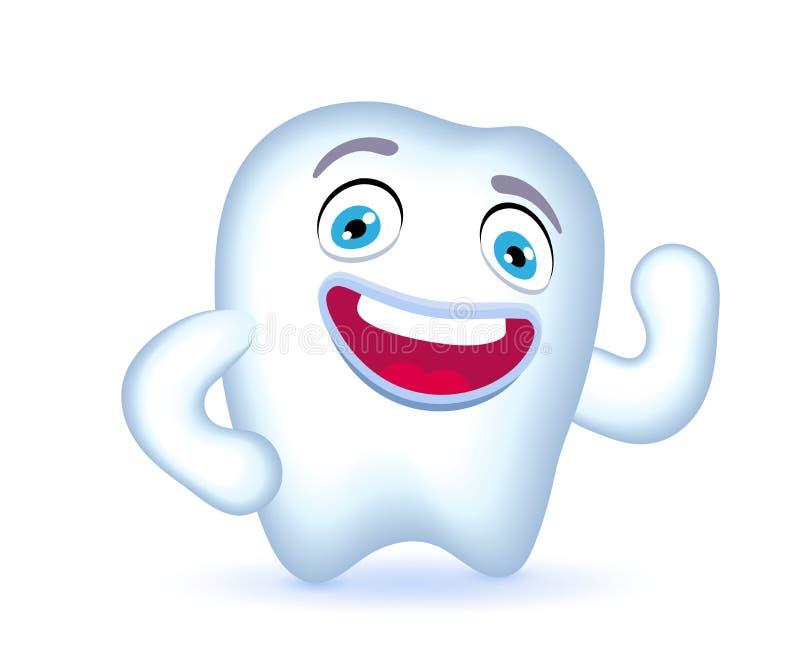 Характер зуба шаржа с рукой на его бедре показывая бицепс бесплатная иллюстрация