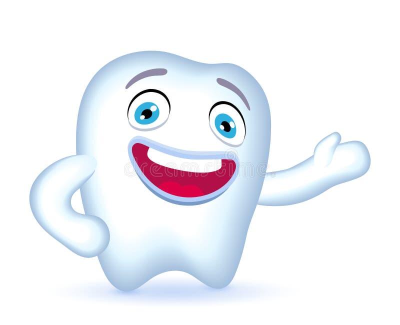 Характер зуба шаржа с рукой на его бедре показывая где-то иллюстрация вектора