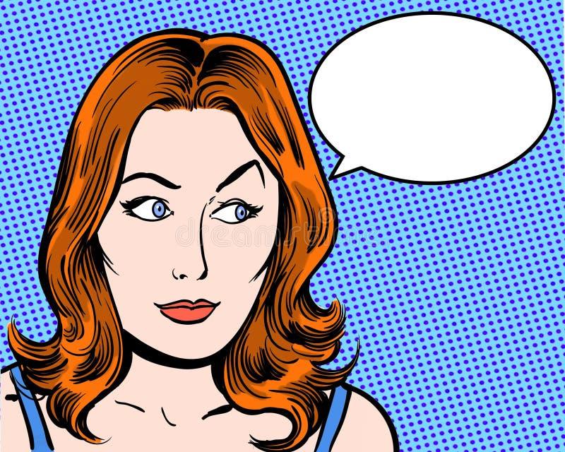 Характер искусства шипучки Redhead шуточный смотря косой с пузырем речи бесплатная иллюстрация