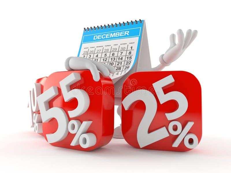 Характер календаря с символом процентов иллюстрация вектора