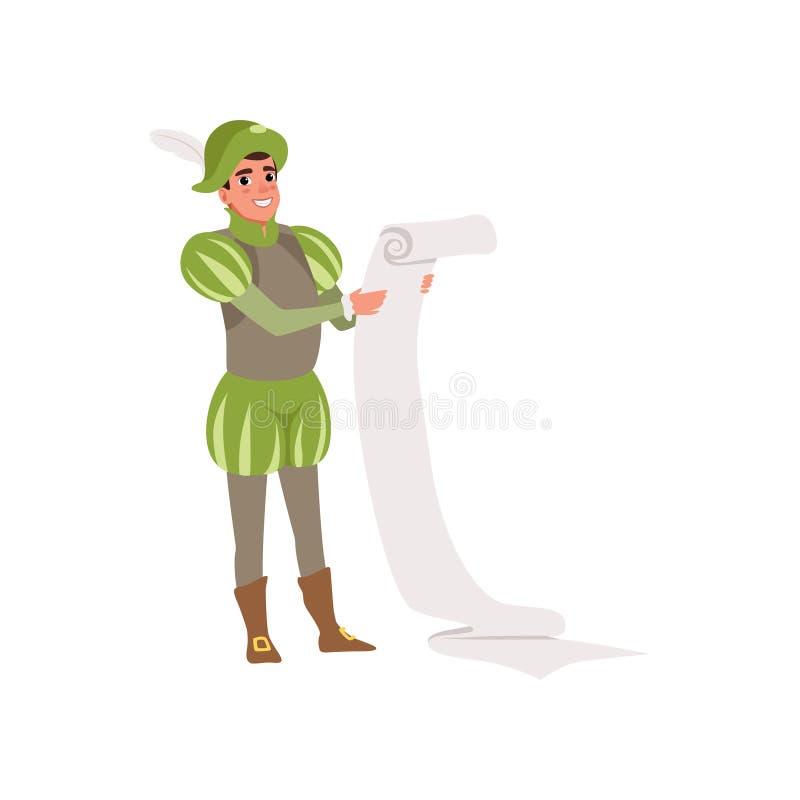 Характер королевского подьячей европейский средневековый держа иллюстрацию вектора переченя на белой предпосылке иллюстрация штока