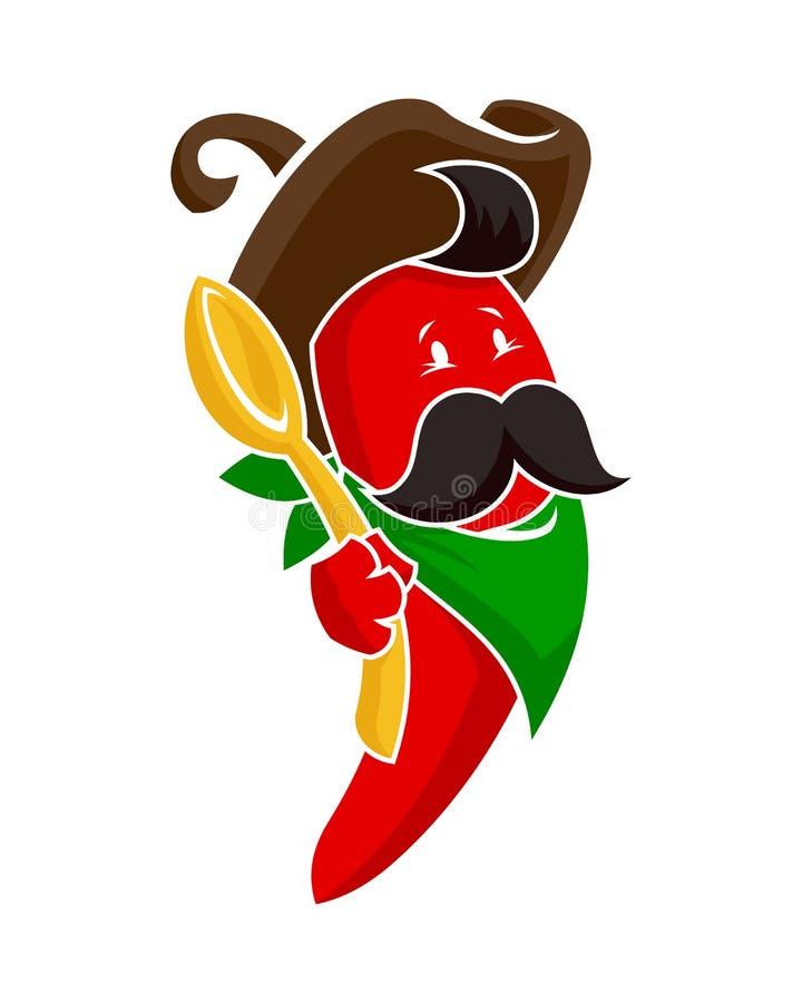 Характер красного перца с ложкой бесплатная иллюстрация