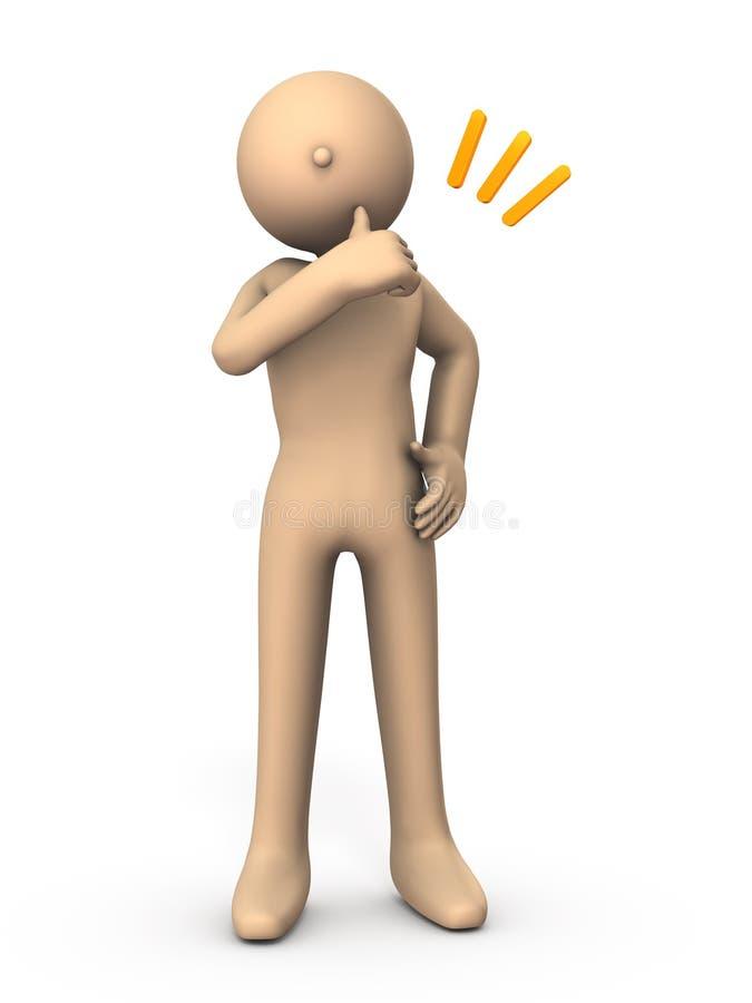 Характер к большому пальцу руки вверх Он выражает сопереживание и согласие иллюстрация штока
