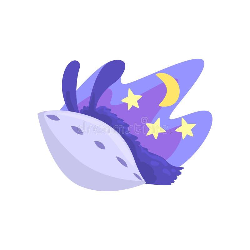 Характер ламы спать в своей кровати на ноче, иллюстрации вектора шаржа милой альпаки животной иллюстрация вектора