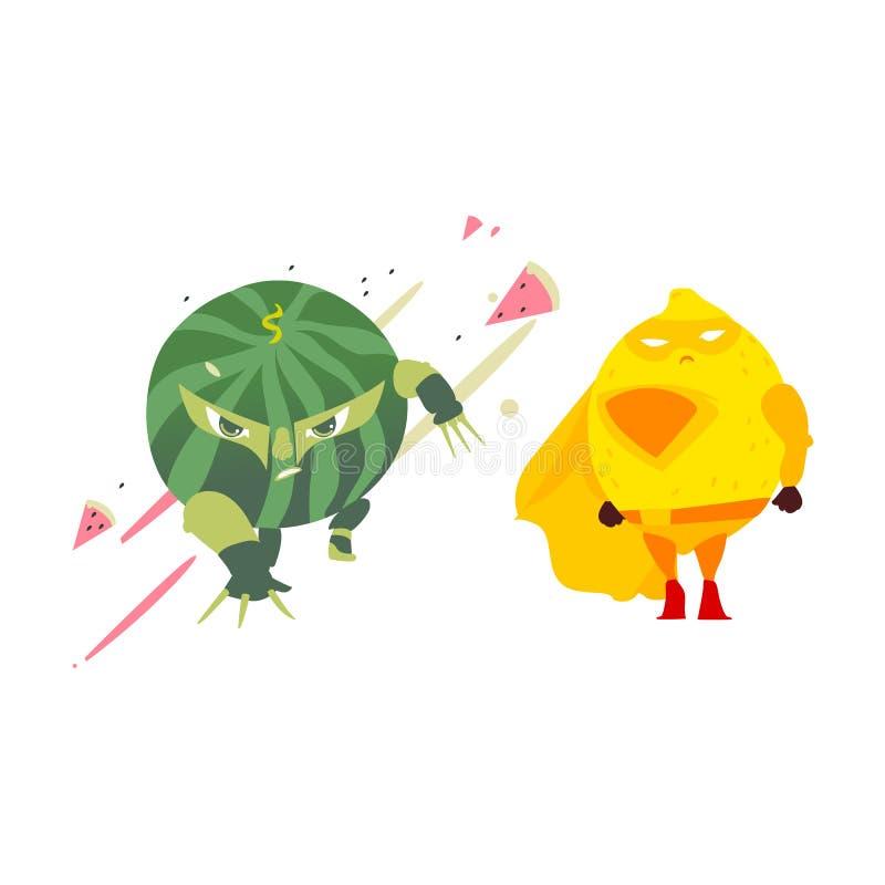 Характер лимона арбуза и супергероя Ninja бесплатная иллюстрация