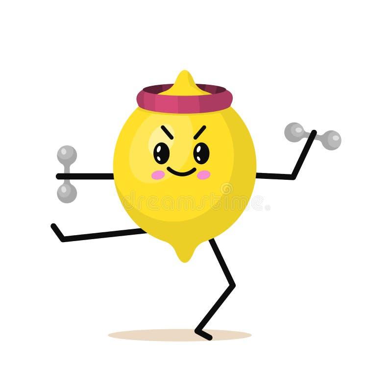 Характер лимона плода спорт с гантелями Милый здоровый овощ и смешная сторона Счастливая еда вегетарианская диета витамина иллюстрация вектора