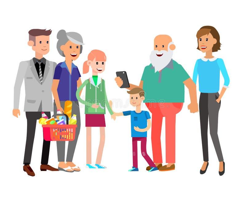 Характер людей семьи вектора большой с детьми детально бесплатная иллюстрация